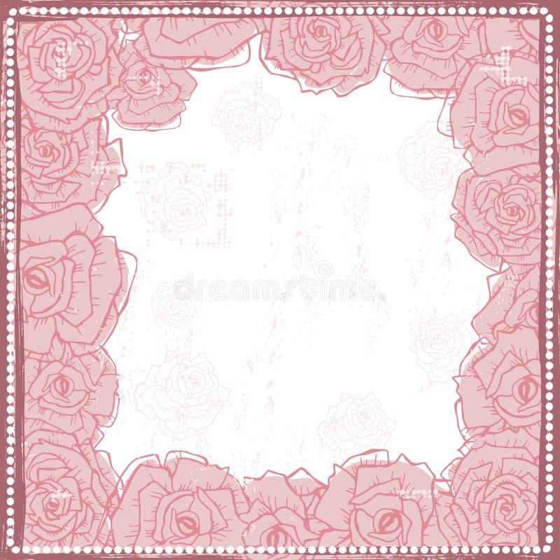 Übergeben Sie gezogenen schäbigen Weinleserosen Rahmen im Rosa lizenzfreie abbildung