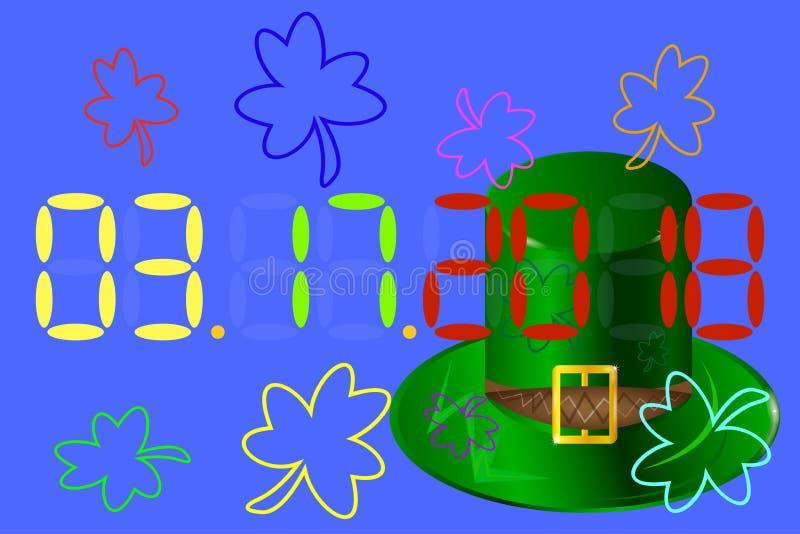 Übergeben Sie gezogenen Typografieausweis mit grünem Hut und Shamrock Vektor stock abbildung