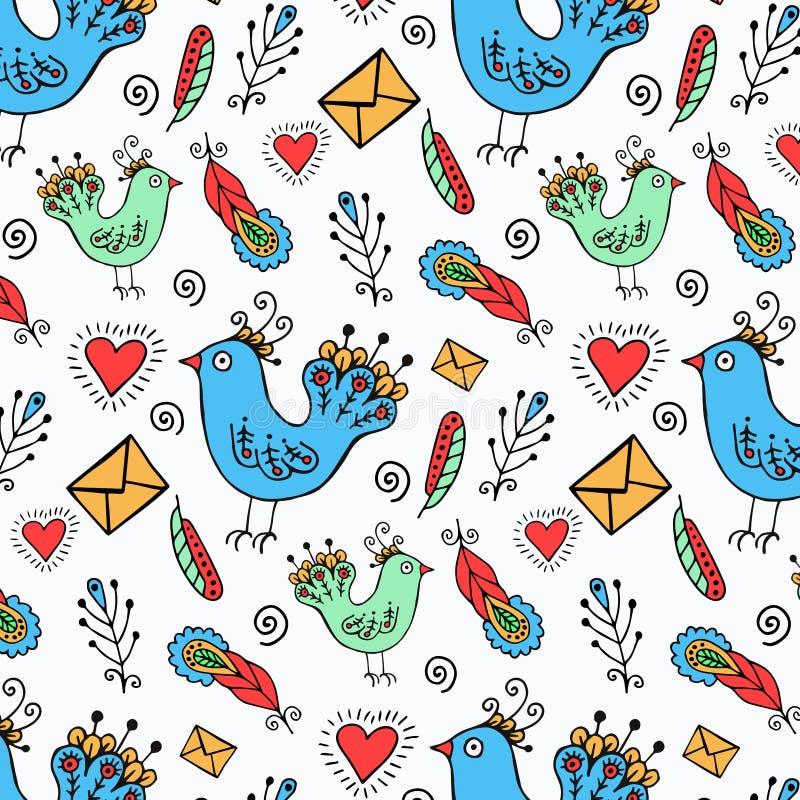 Übergeben Sie gezogenen Vögeln Muster lizenzfreie abbildung