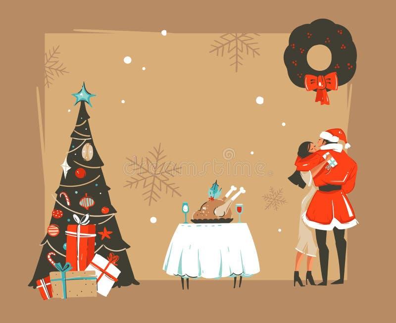 Übergeben Sie gezogenen Vektorzusammenfassung guten Rutsch ins Neue Jahr-Zeit-Karikaturillustrationen Retro- Karte mit romantisch lizenzfreie abbildung