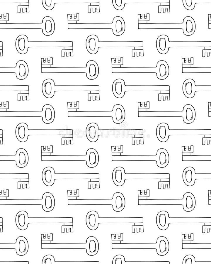 Übergeben Sie gezogenen Verschluss und Schlüsselvektor nahtloses Muster vektor abbildung