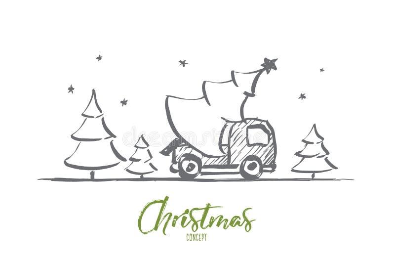 Übergeben Sie gezogenen Weihnachtsbaum im Auto mit Beschriftung stock abbildung