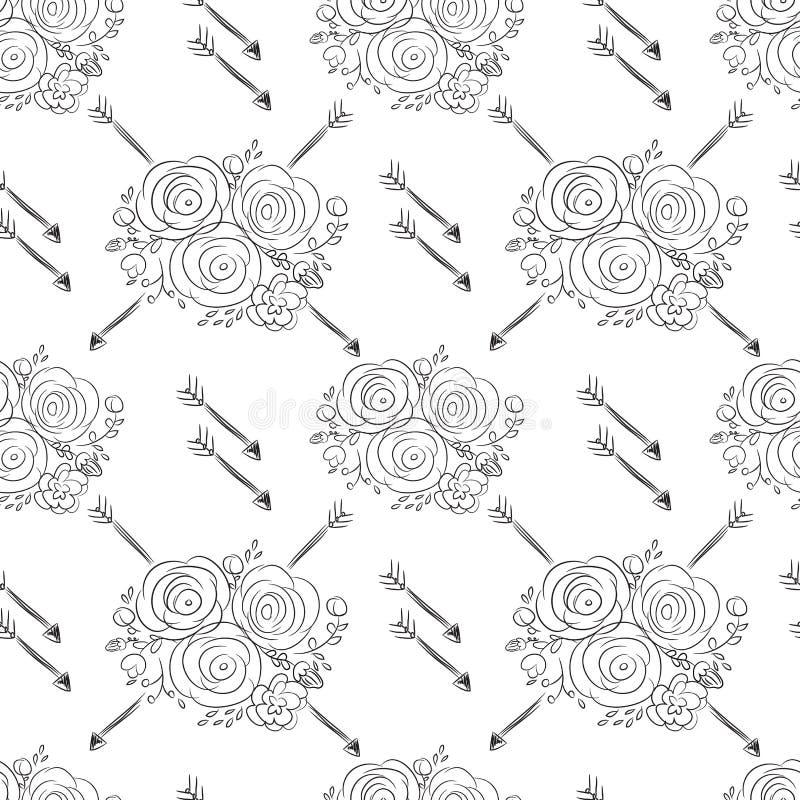Übergeben Sie gezogener empfindlicher dekorativer Weinlese nahtloses Muster mit blo stock abbildung