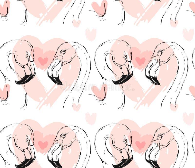 Übergeben Sie gezogener Vektorzusammenfassung grafische Flamingopaare nahtloses Muster lizenzfreie abbildung