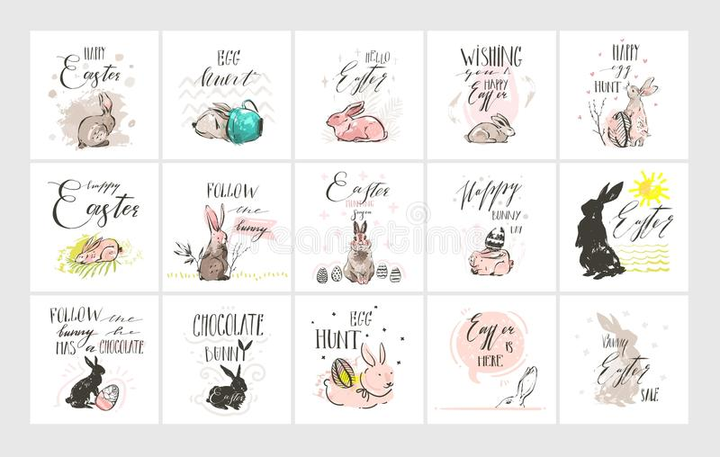 Übergeben Sie gezogener Vektorzusammenfassung grafische skandinavische Collage fröhliche Ostern nette Illustrationsgrußkartenscha lizenzfreie abbildung