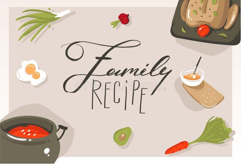 Übergeben Sie gezogener Vektorzusammenfassung moderne Karikaturkochkurskonzeptillustrations-Plakatkarte mit Lebensmittel, Gemüse  lizenzfreie abbildung