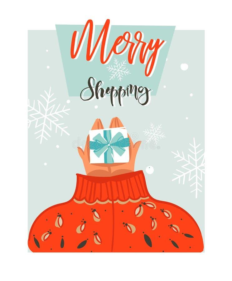 Übergeben Sie gezogener Vektorzusammenfassung Zeitkarikatur-Illustrationskarte der frohen Weihnachten mit Leuten in der gemütlich vektor abbildung