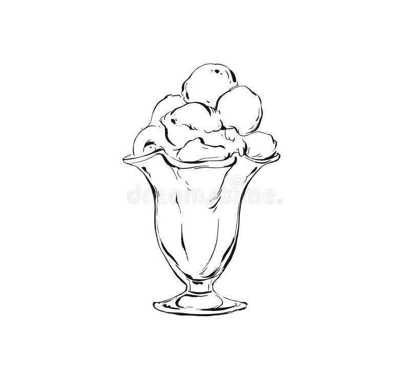 Übergeben Sie gezogener Vektorzusammenfassungs-Tintenzeichnung grafische Skizzenillustrationsikone mit Eiscremebällen in der Glas stock abbildung