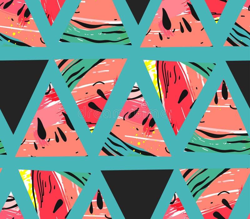 Übergeben Sie gezogener Vektorzusammenfassungscollage das nahtlose Muster mit Wassermelonenmotiv- und -dreieckhippie-Formen lokal vektor abbildung