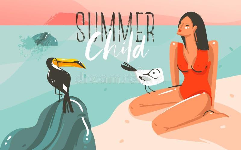Übergeben Sie gezogener Vektorzusammenfassungskarikatur-Sommerzeit grafischen Illustrationskunst-Schablonenhintergrund mit Ozeans vektor abbildung