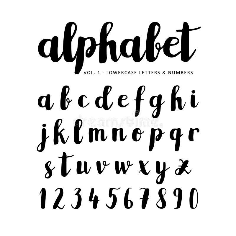 Übergeben Sie gezogenes Alphabet, Guss, die Briefe, die mit Markierung, Tinte geschrieben werden lizenzfreie abbildung