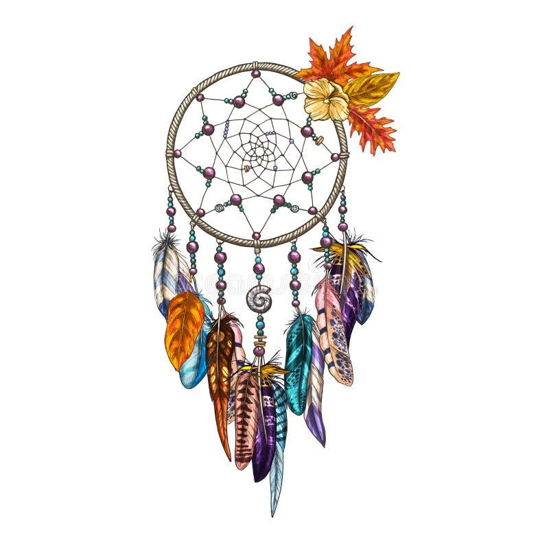 Übergeben Sie gezogenes aufwändiges Dreamcatcher mit Federn und Herbstlaub Magisches Symbol, ethnisches Stammes- Element Auch im  lizenzfreie abbildung