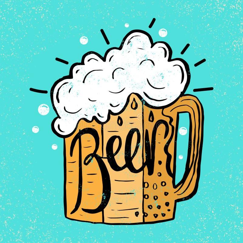 Übergeben Sie gezogenes Bier im Glasbecher mit Text Bier auf Schmutz lizenzfreie abbildung
