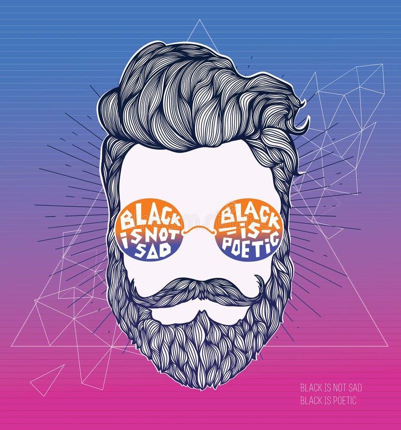 Übergeben Sie gezogenes Hippie-Schattenbild auf einem modernen polygonalen Hintergrund Mann des gelockten Haares des Hippies im G vektor abbildung