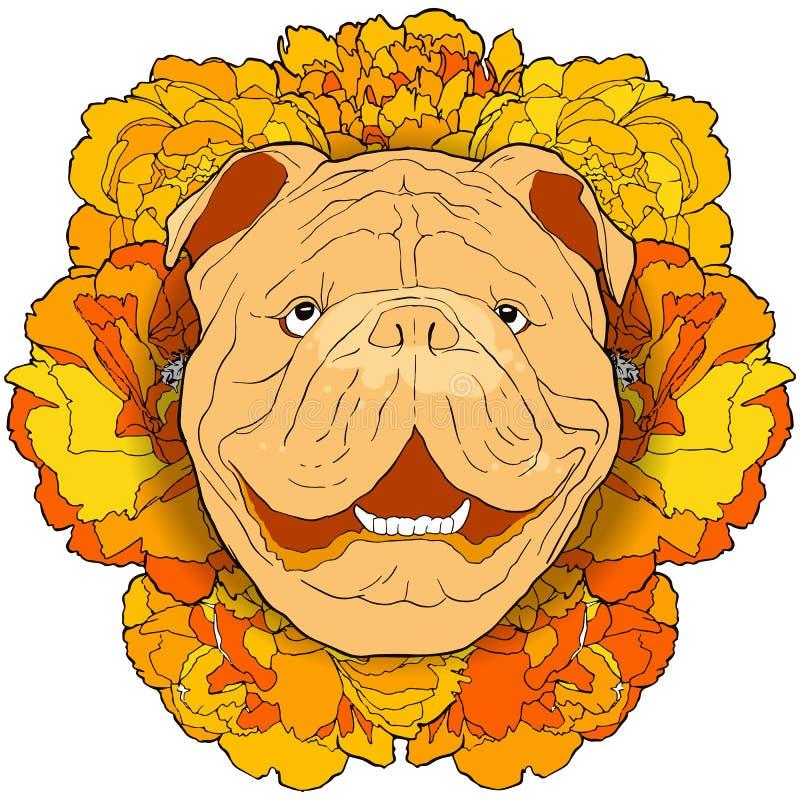 Übergeben Sie gezogenes lustiges Bulldoggenporträt mit Gelbblumenhintergrund vektor abbildung