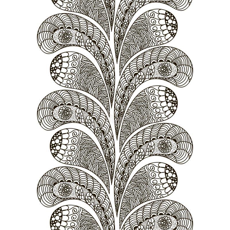 Übergeben Sie gezogenes nahtloses Muster in der Gekritzelkunst-Art-Schwarzweiss-Dekoration für Karten, Heiratseinladungen, Karten stock abbildung