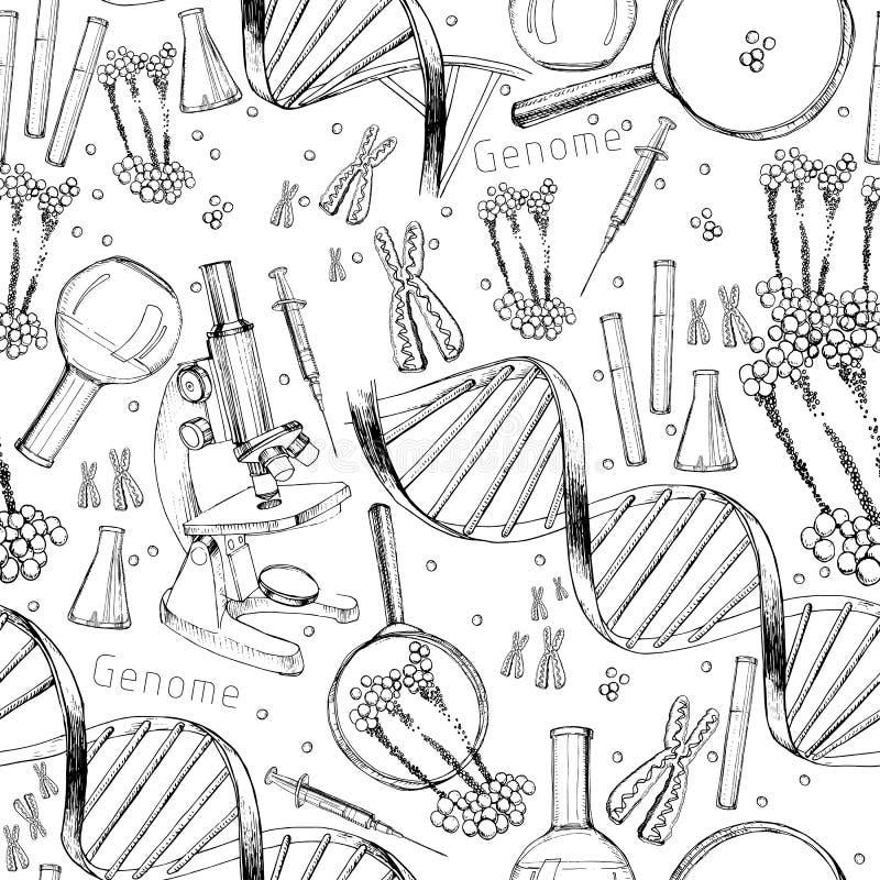 Übergeben Sie gezogenes nahtloses Muster der Struktur von DNA Genomreihenfolge Gesundheits- und Biochemielabor der Nanotechnologi lizenzfreie abbildung