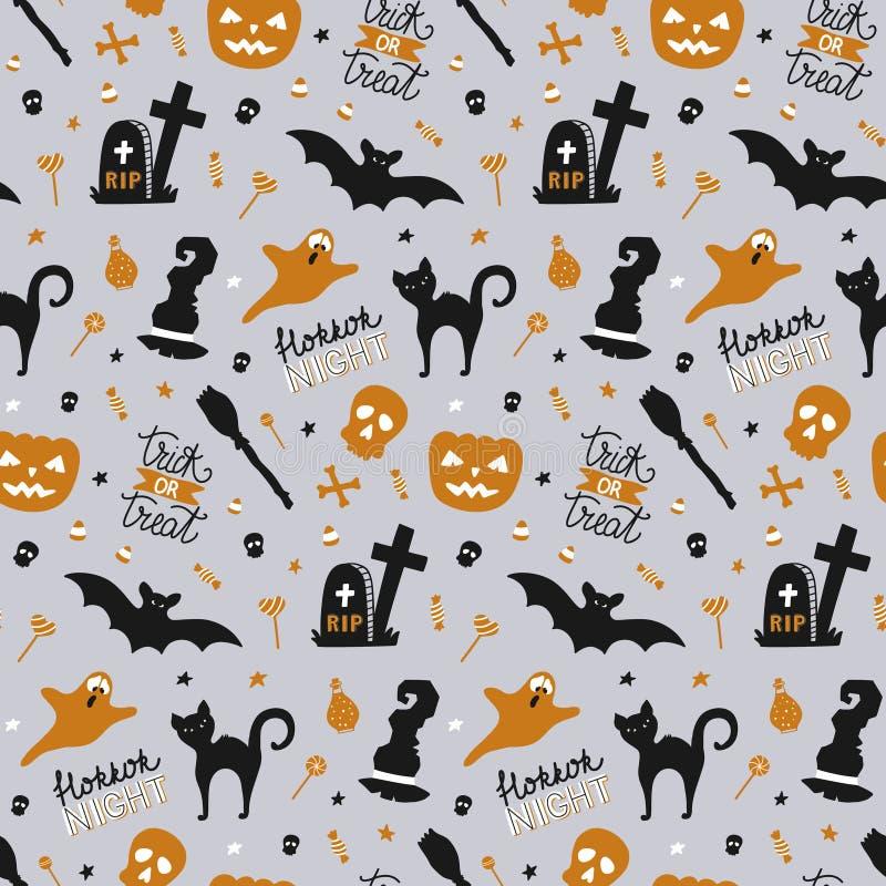 Übergeben Sie gezogenes nahtloses Muster für Halloween mit Kürbis, Süßigkeit, Geist, Spinne, Schläger, Hexenhut, Katze, der Schäd stock abbildung