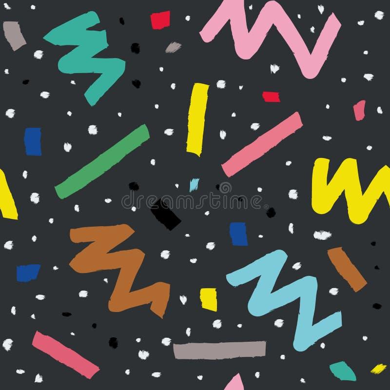 Übergeben Sie gezogenes nahtloses Muster in Memphis-Art mit bunten Streifen, Zickzack und Klecksen auf dunkelgrauem Hintergrund vektor abbildung