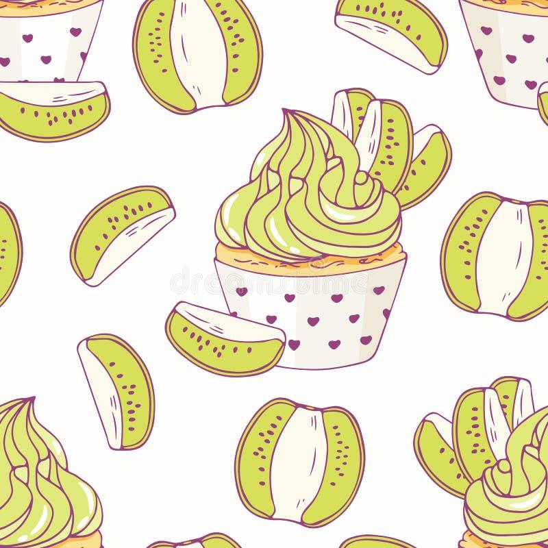 Übergeben Sie gezogenes nahtloses Muster mit buttercream des Gekritzelkleinen kuchens und -kiwi sehr viele Fleischmehlklöße vektor abbildung
