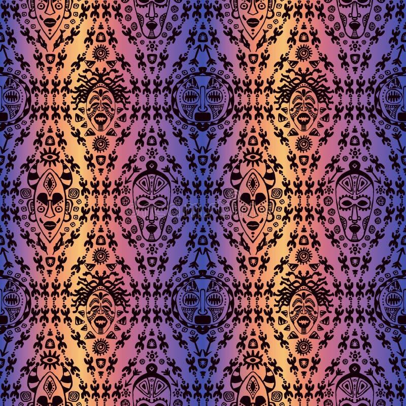 Übergeben Sie gezogenes nahtloses Muster mit der Stammes- ethnischen Maske Skizze für Ihr Design, wallaper, Gewebe, Druck Afrikan lizenzfreie abbildung