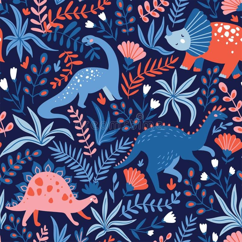 Übergeben Sie gezogenes nahtloses Muster mit Dinosauriern und tropische Blätter und Blumen Vervollkommnen Sie für Kindergewebe, G lizenzfreie abbildung
