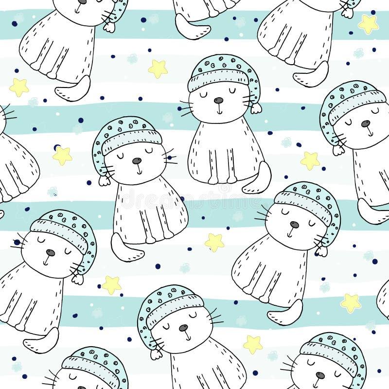 Übergeben Sie gezogenes nahtloses Muster mit netter Katze, Gekritzelillustration für Kindervektordruck stock abbildung