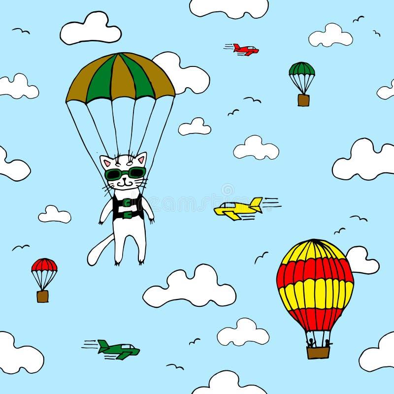 Übergeben Sie gezogenes nahtloses Vektormuster mit Skydiverkatze, Luft baloon, Flugzeugen und Wolken Konzept des Entwurfes für Ki lizenzfreie abbildung