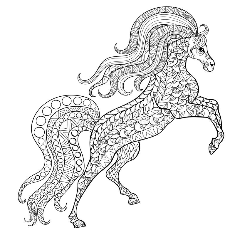 Übergeben Sie gezogenes Pferd für antistress Farbton-Seite mit hohen Details stock abbildung