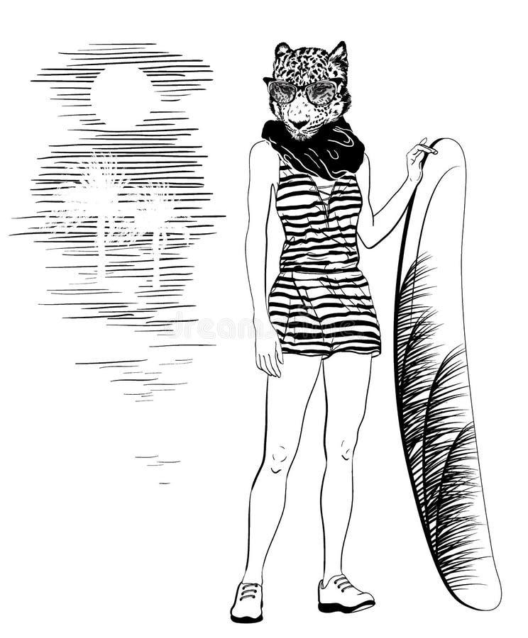 Übergeben Sie gezogenes Porträt des Leoparden mit surfboat und Sonnenbrille, tropischer Sonnenuntergang stock abbildung
