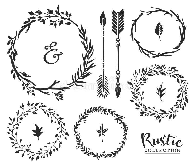 Übergeben Sie gezogenes Weinleseetzeichen, -pfeile und -Kränze Rustikales decorat stock abbildung