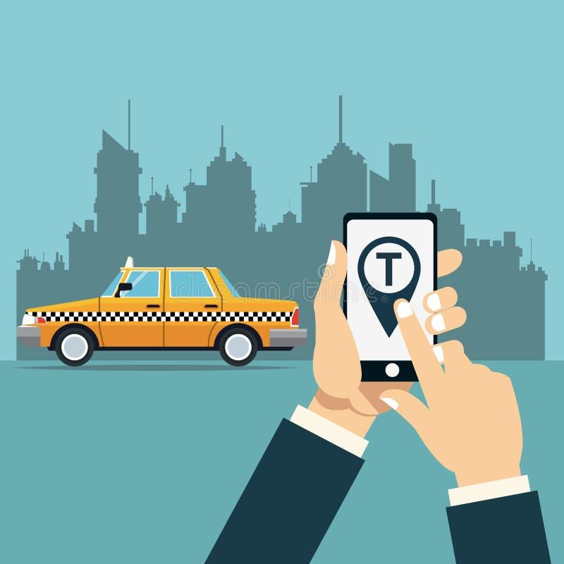 Übergeben Sie Griff beweglichen Taxiservice on-line-APP-Stadthintergrund vektor abbildung
