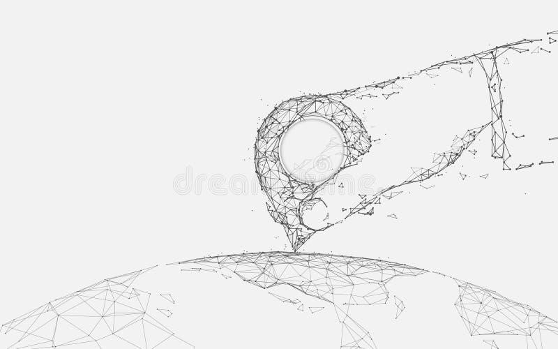 Übergeben Sie Haltestiftstandort auf Weltkarteformlinien, Dreiecken und Partikelartdesign vektor abbildung