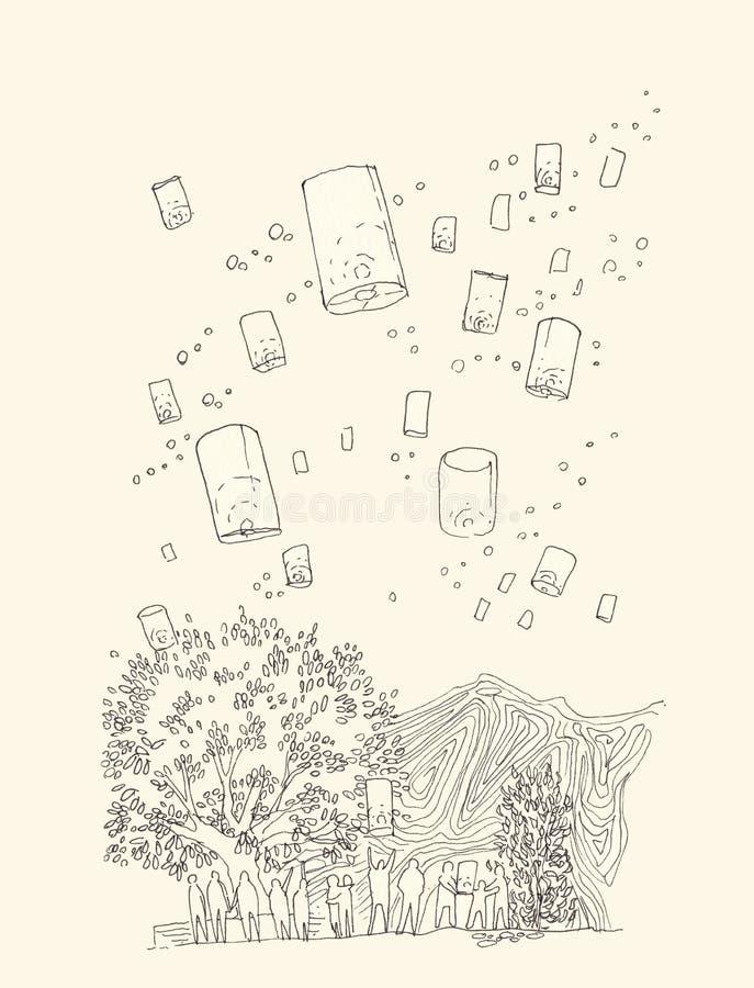 Übergeben Sie Illustrationslinie der sich hin- und herbewegenden Laterne in loy krathong festi lizenzfreie abbildung