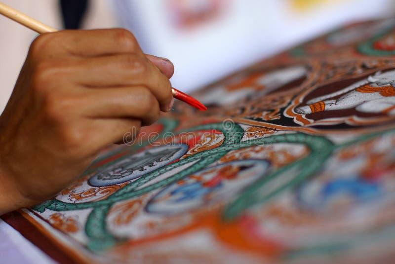 Übergeben Sie Malerei auf Gewebe, Bagan, Birma, Asien lizenzfreie stockbilder