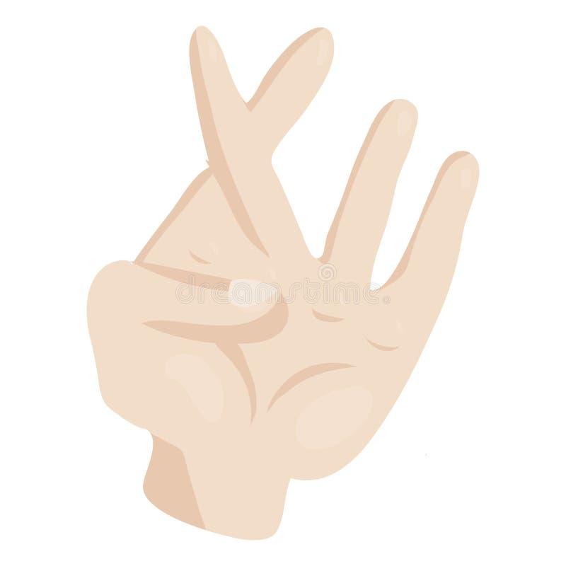 Übergeben Sie mit den gekreuzten Fingern Ikone, Karikaturart lizenzfreie abbildung