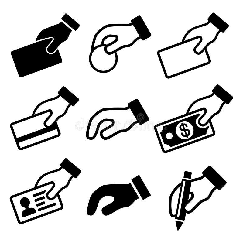 Übergeben Sie mit den verschiedenen eingestellten Gegenstandikonen lizenzfreie abbildung