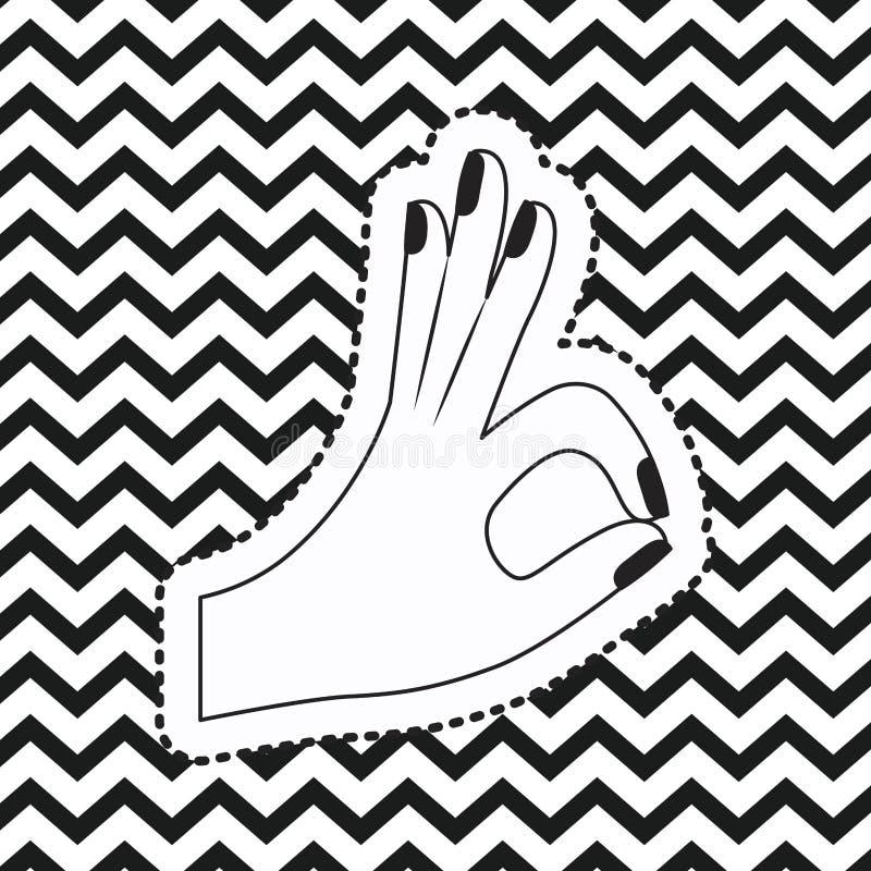 Übergeben Sie okayaufkleber des Symbols ganz auf linearem einfarbigem Hintergrund des Pop-Arten-Zickzacks lizenzfreie abbildung
