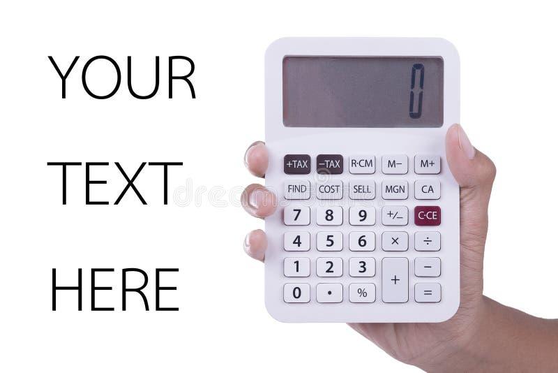 Übergeben Sie Showtaschenrechner mit nullzahl auf Schirm auf weißem Hintergrund lizenzfreie stockfotografie
