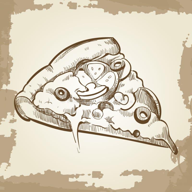 Übergeben Sie skizzierte Pizza auf Weinleseschmutzhintergrund - Schnellimbissplakat lizenzfreie abbildung