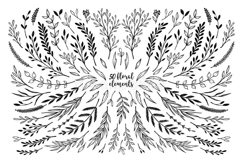 Übergeben Sie skizzierte Vektorweinlese-Elementlorbeer, Rahmen, Blätter, stock abbildung