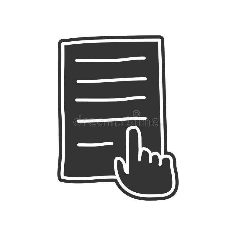 übergeben Sie und ein Blatt Papier Skizzenikone Element der Bildung für bewegliches Konzept und Netz apps Ikone Glyph, flache Iko vektor abbildung