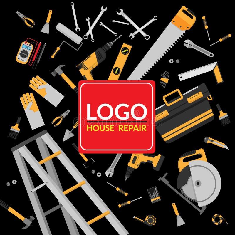 Übergeben Sie Werkzeuge für Hauptreparatur und Bau mit Kopienraum lizenzfreie abbildung