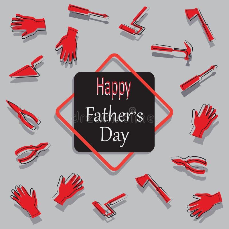 Übergeben Sie Werkzeuge und die Wörter glücklicher Vater ` s Tag lizenzfreie abbildung