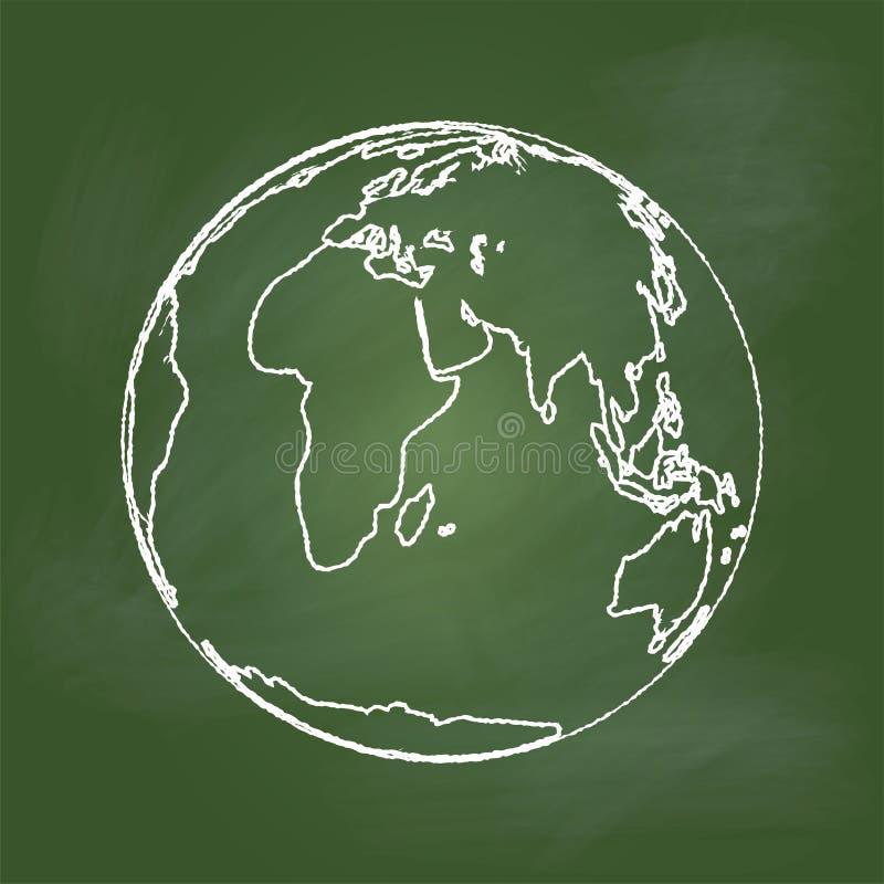 Übergeben Sie Zeichnung Erde auf grünem Brett - Vector Illustration lizenzfreie abbildung