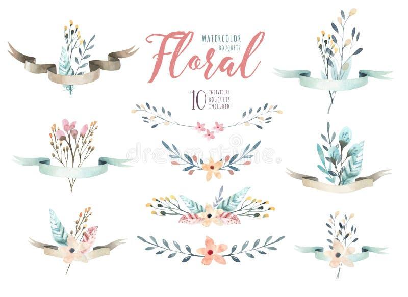 Übergeben Sie Zeichnung lokalisiertem Aquarell Blumenillustration mit Urlaub lizenzfreie abbildung