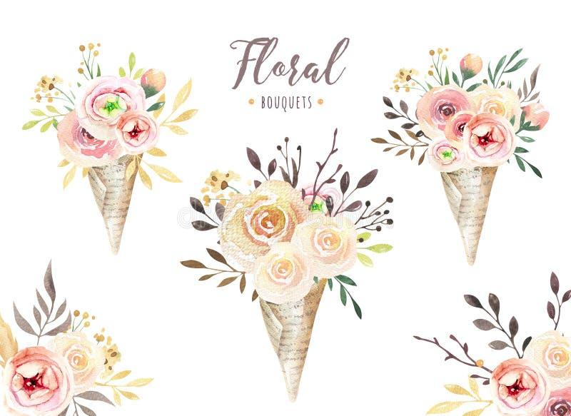 Übergeben Sie Zeichnung lokalisiertem boho Aquarell Blumenillustration mit Blättern, Niederlassungen, Blumen Böhmische Grünkunst  stock abbildung