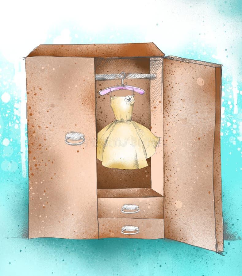 Übergeben Sie Zeichnung Wandschrank, Kleidung, Garderobe mit Kleid stock abbildung