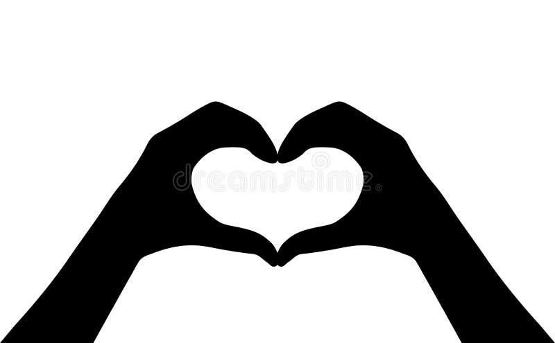 Übergibt Herzvektor-Schattenbildikone stock abbildung