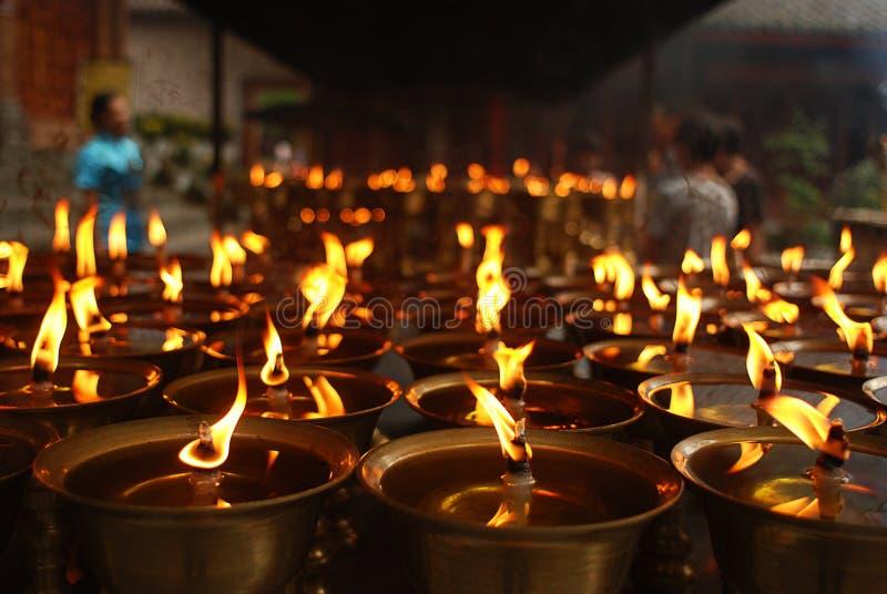 Überhaupt-brennende Lampen stockfoto